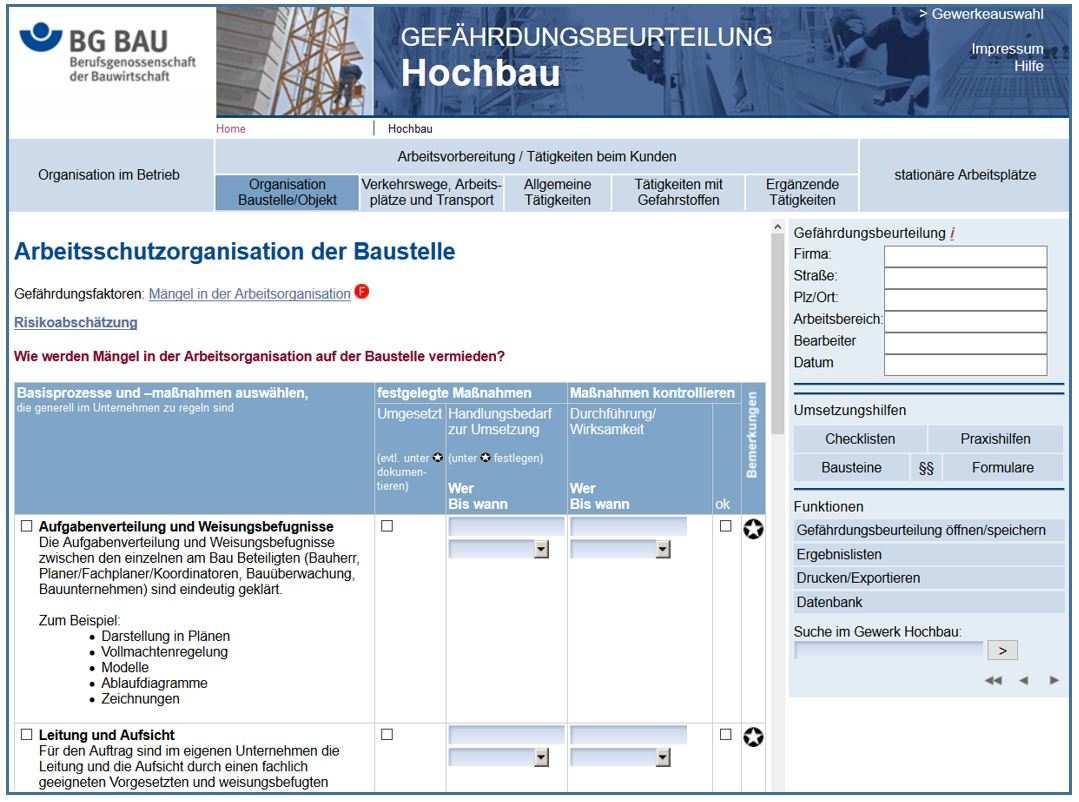 Handlungshilfen Gefahrdungsbeurteilung Bg Bau Online Anwendung Komzet Netzwerk