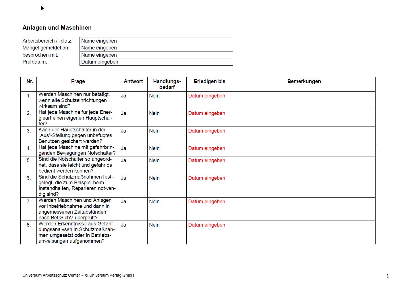 Vorlage Zum Download Gefahrdungsbeurteilung Instandhaltung An Maschinen Und Anlagen Allgemein Sofort Download