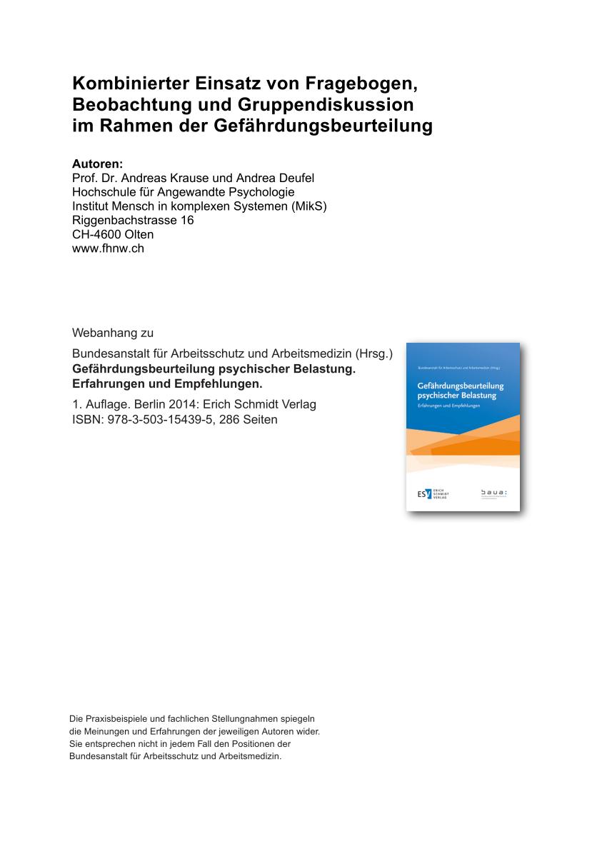 Pdf Kombinierter Einsatz Von Fragebogen Beobachtung Und Gruppendiskussion Im Rahmen Der Gefahrdungsbeurteilung