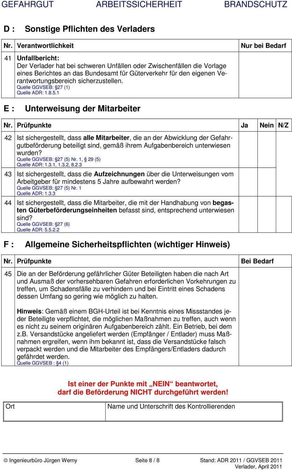 Checkliste Verlader Nach Ggvseb Adr 2011 Fur Den Strassentransport Gultig Bis Pdf Free Download