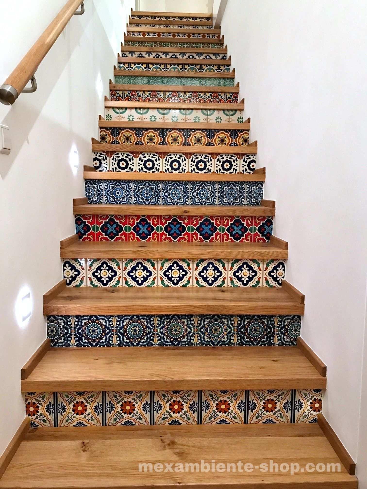 Treppe Mit Mexikanischen Fliesen Premium Mexikanische Fliesen Treppe Fliesen Treppenrenovierung