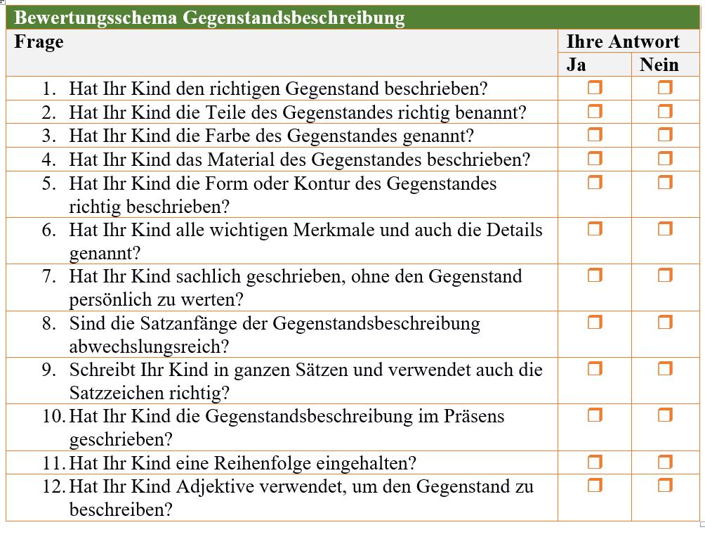 Gegenstandsbeschreibung Lernfoerderung Kostenlose Expertentipps Schule Lernen Rechtschreibung Rechnen Lesen Tests Checklisten Reimann Hohn Methode