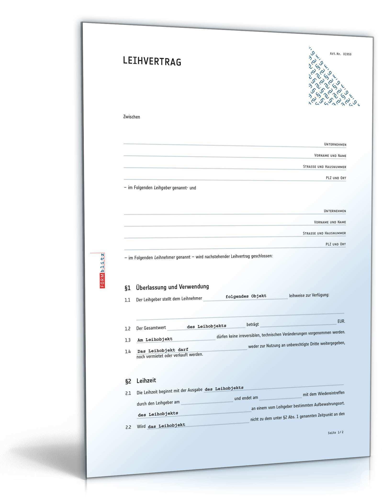 Leihvertrag Rechtssicheres Muster Zum Download
