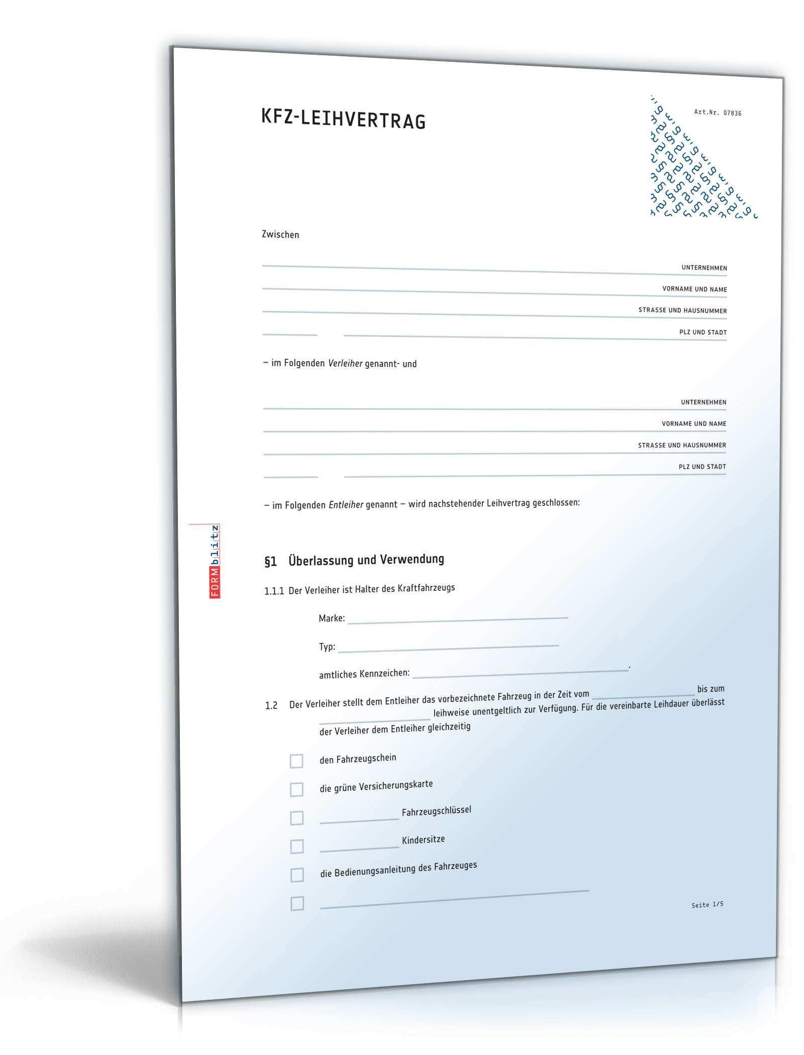 Kfz Leihvertrag Anwaltsgepruftes Muster Zum Download