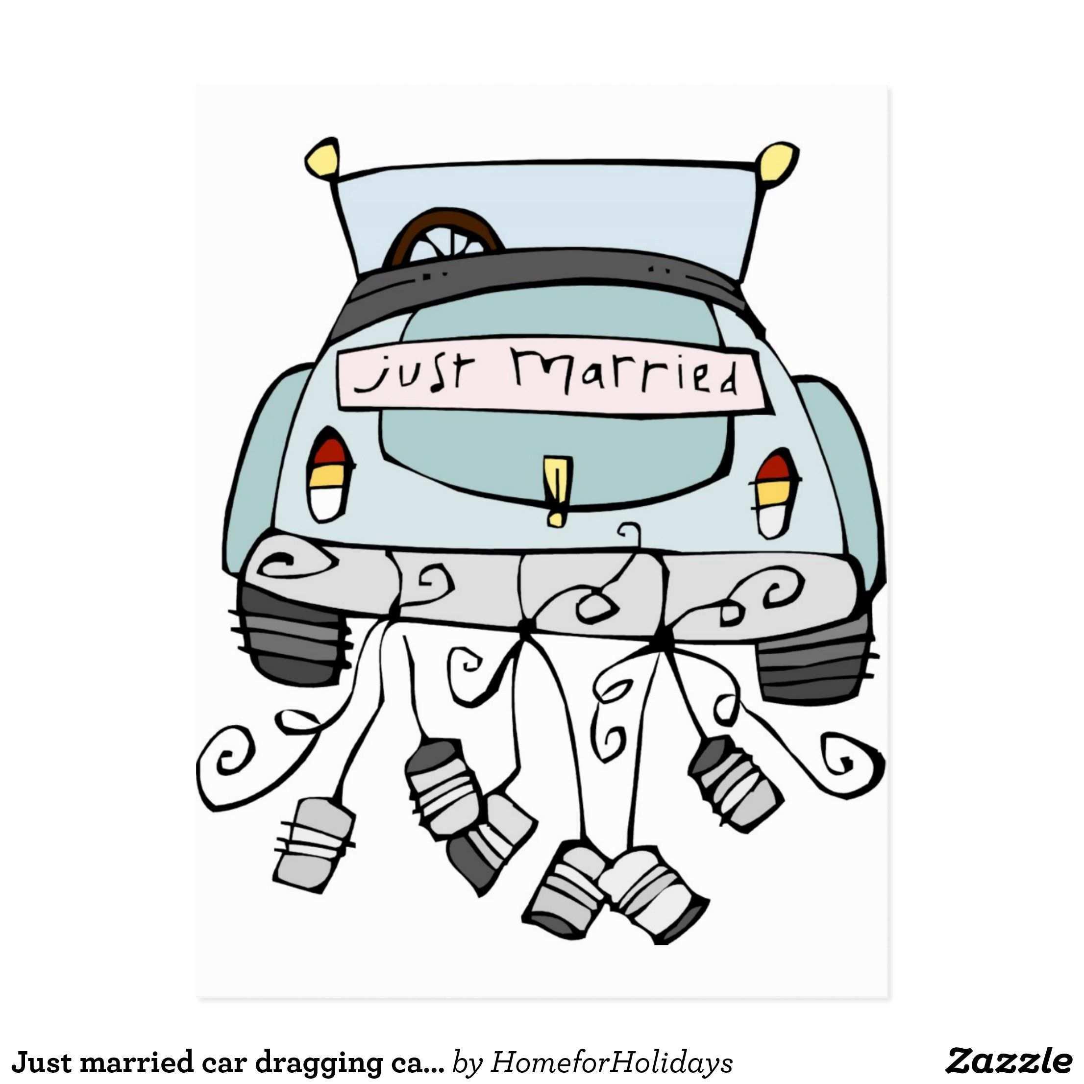 Gerade Schleppende Dosen Des Verheirateten Autos Ankundigungspostkarte Zazzle De Frisch Verheiratet Auto Frisch Verheiratet Just Married Auto