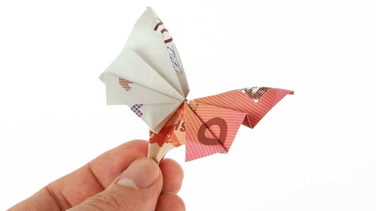 Geldschein Zu Einem Schmetterling Falten Diy Anleitung Zum Falten Eines Schmetterlings Geldscheine Falten Schmetterling Geldscheine Falten Geld Schmetterling