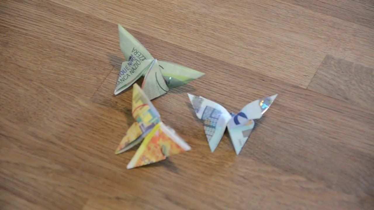 Falten Mit Noten Schmetterling Einfach Und Schnell Youtube Geldschein Schmetterling Geldscheine Falten Schmetterling Geld Falten Schmetterling