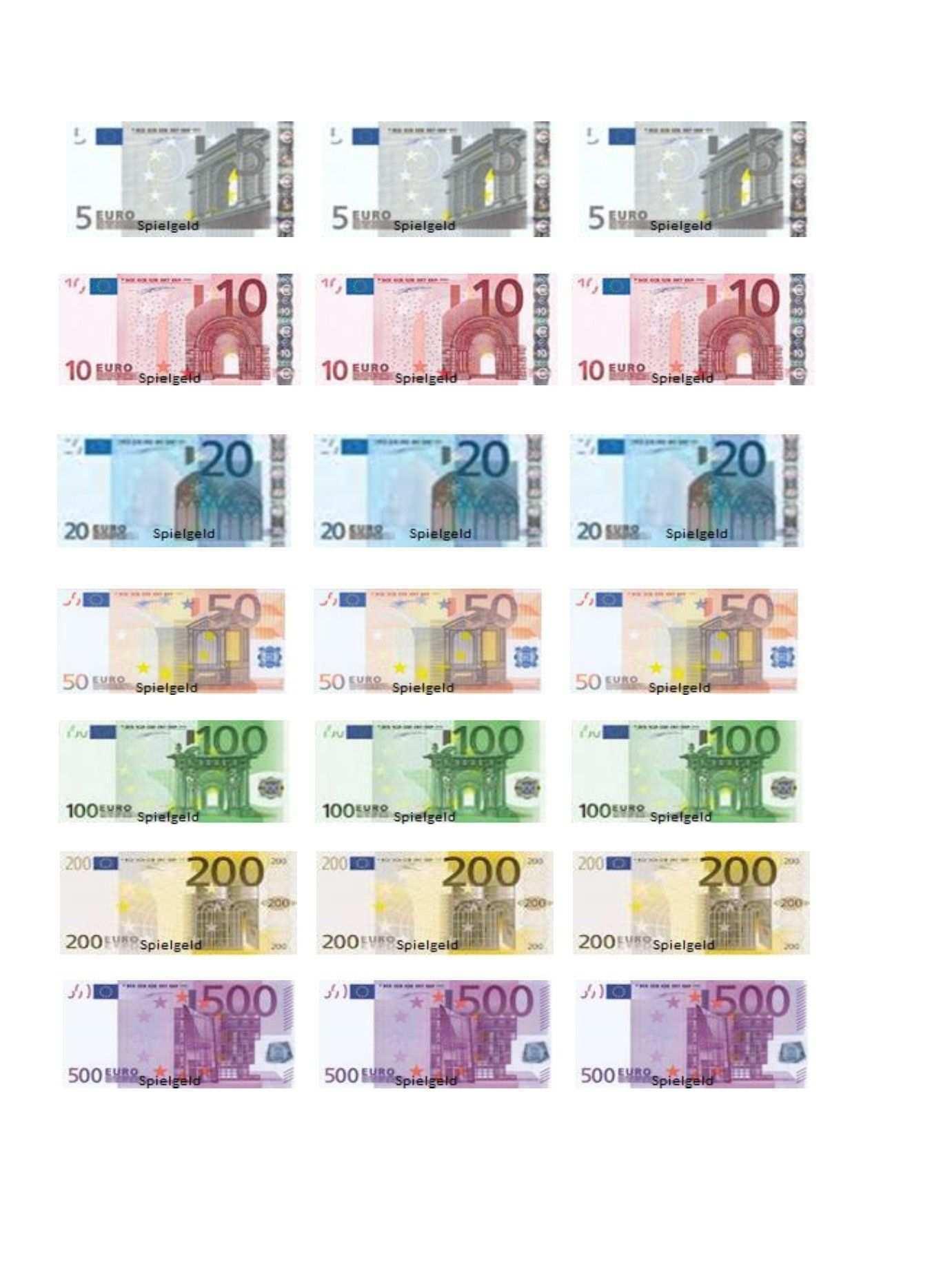 Farbung Malvorlagen Malvorlagenfurkinder Spielgeld Geld Euro Scheine