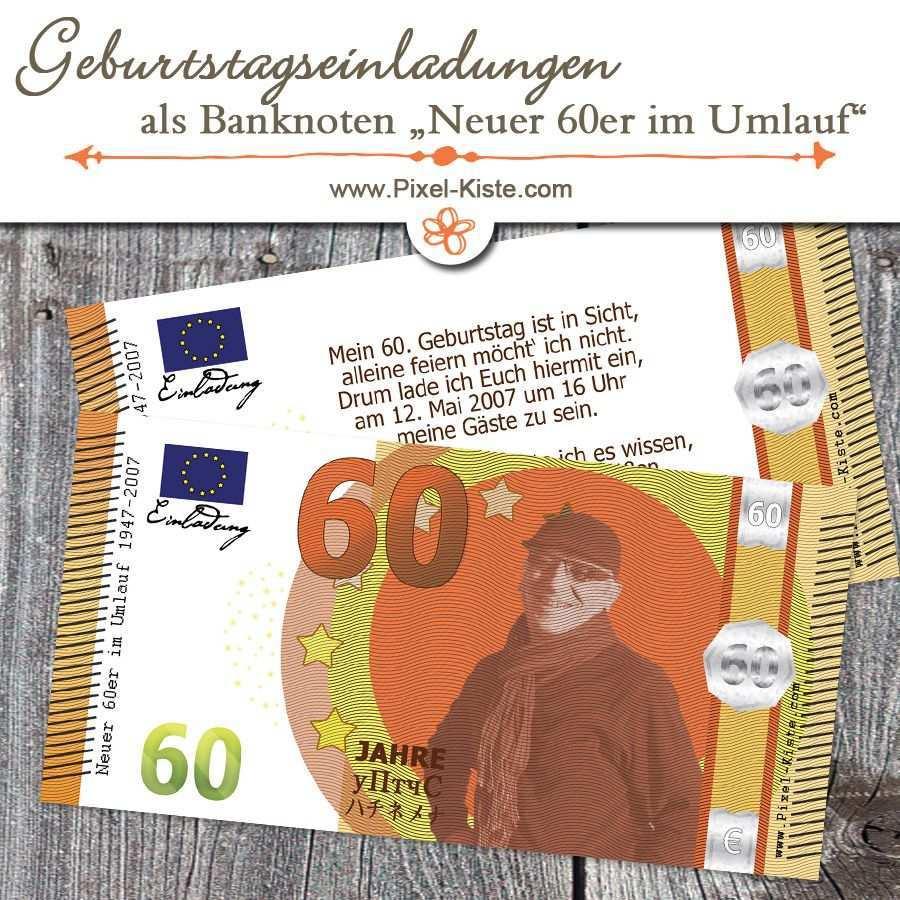 Geldschein Banknote 60 Geburtstag Neuer Sechziger Geburtstagseinladungen Geburtstag Einladungen