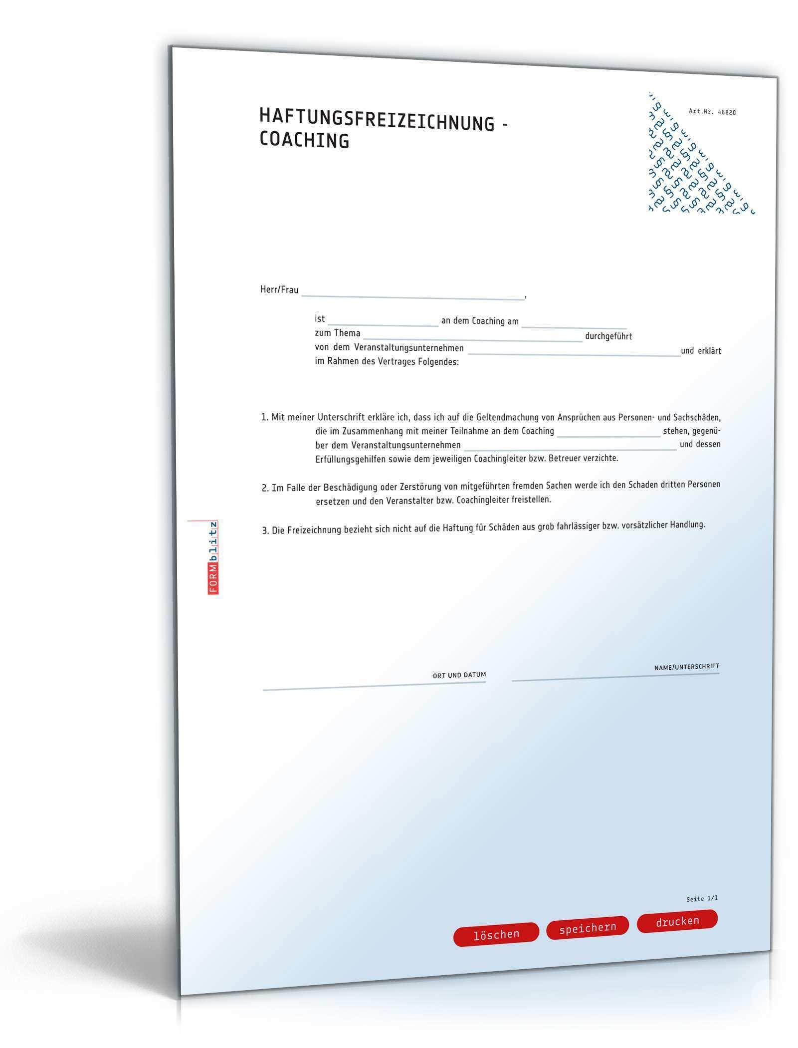 Haftungsfreizeichnung Coaching Muster Zum Download