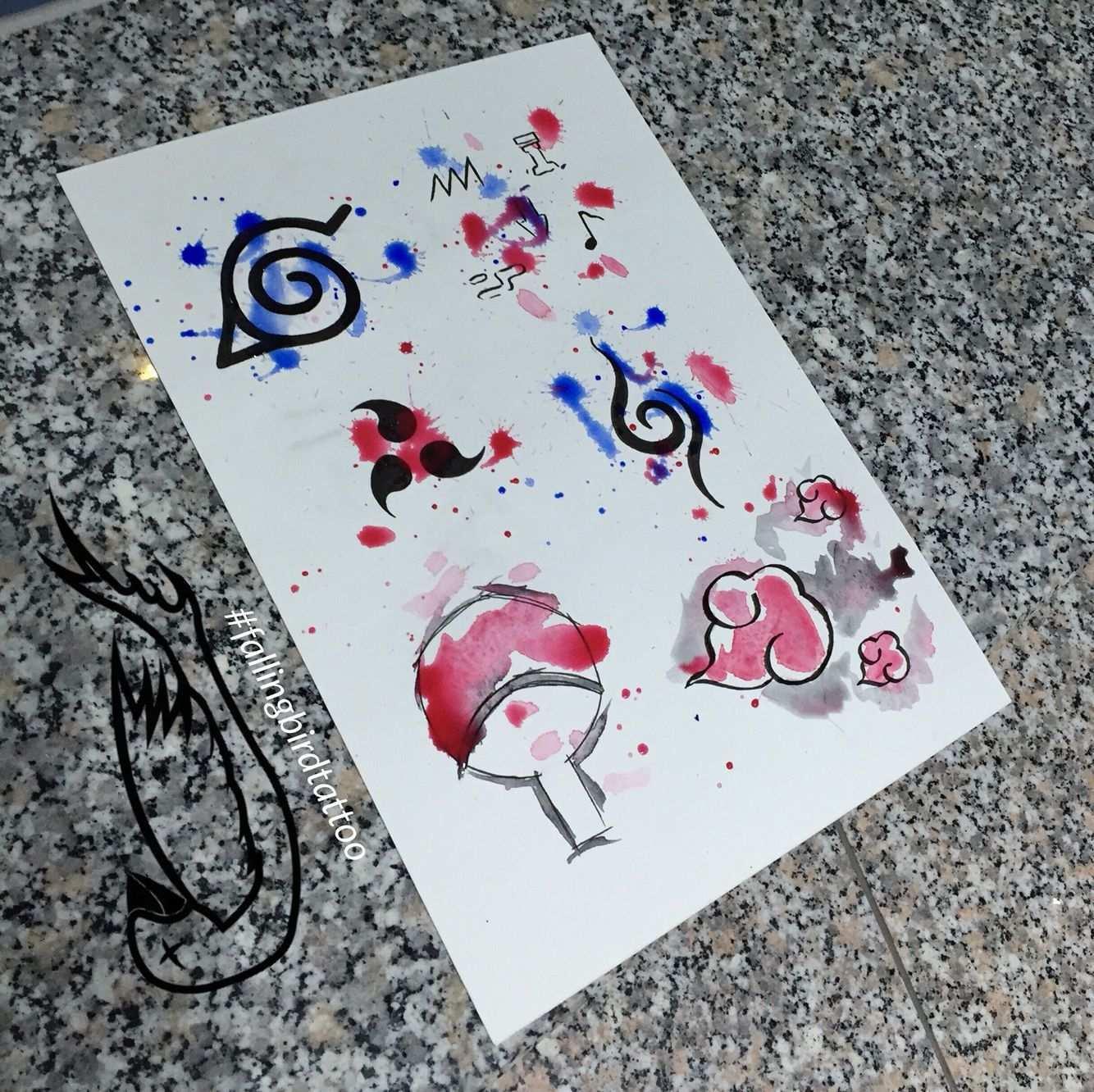 Naruto Watercolour Watercolor Aquarell Tattoo Wanna Do Vorlagen Konoha Sasuke Anbu Einheit Naruto Tattoo Naruto Drawings Naruto