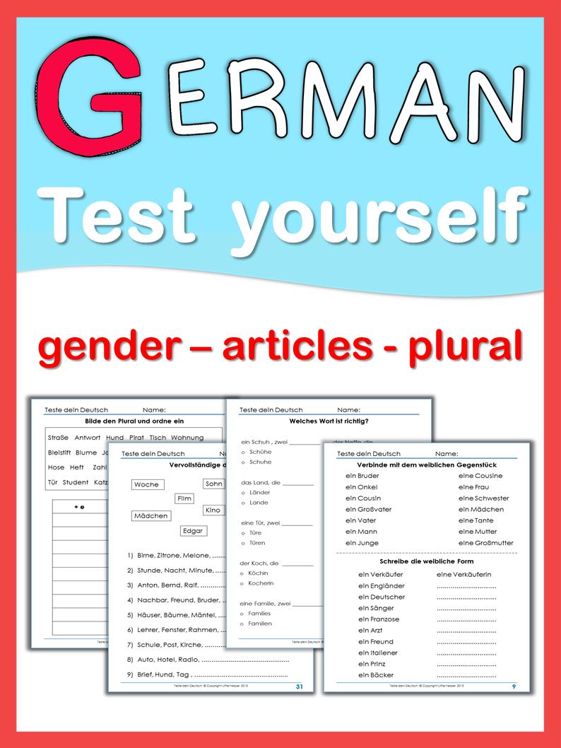 German Test Yourself Gender Articles Plural Plurals German Learn German