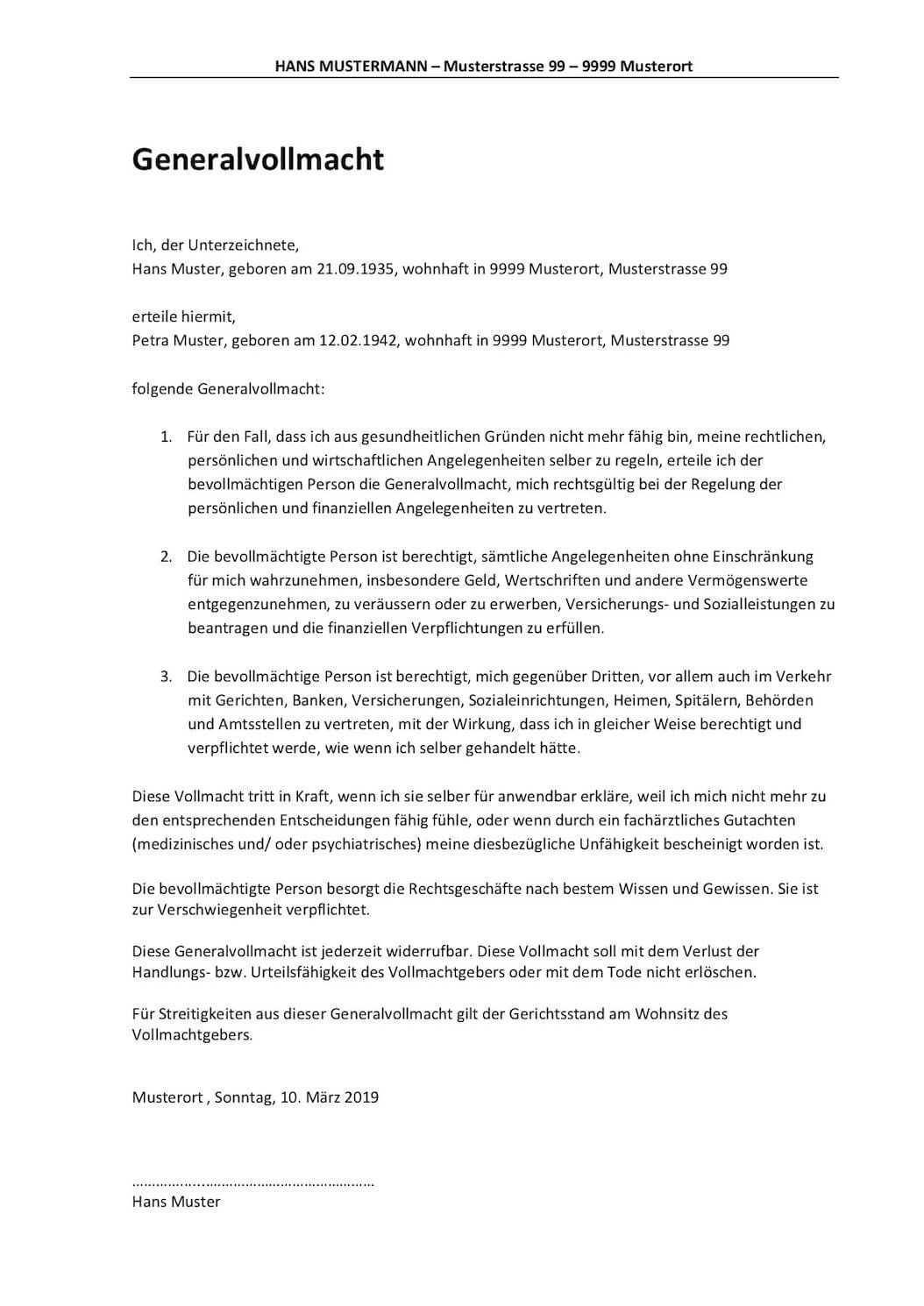 Generalvollmacht Vorlage Schweiz Vollmacht Vorlagen Vertrauensperson