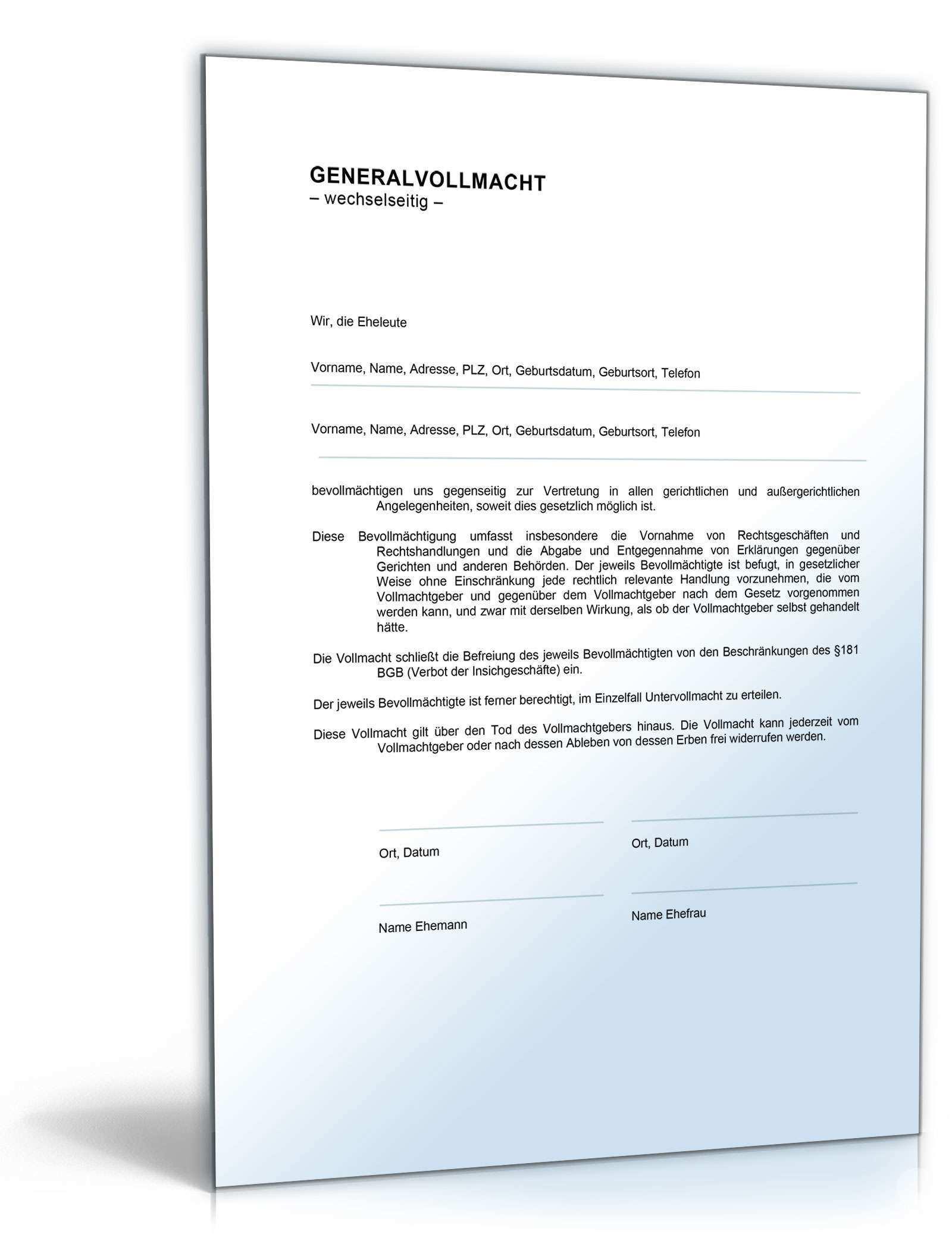 Generalvollmacht Eheleute Vorlage Zum Download