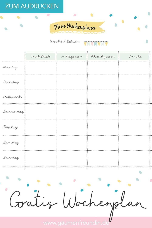 Gratis Wochenplan Vorlage Zum Ausdrucken Fur Den Speiseplan Wochenplan Vorlage Wochen Planer Planer Vorlagen