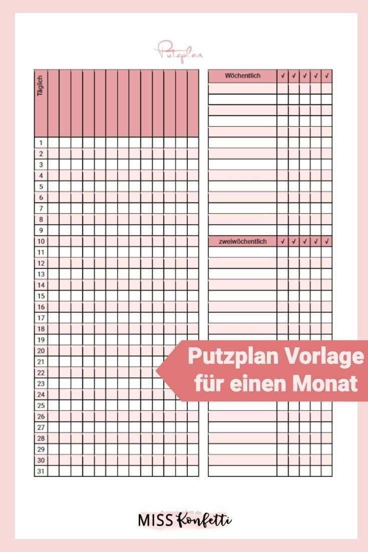 Putzplan Vorlage Fur Weniger Arbeit Im Haushalt Putzplan Wochenplan Zum Ausdrucken Planer