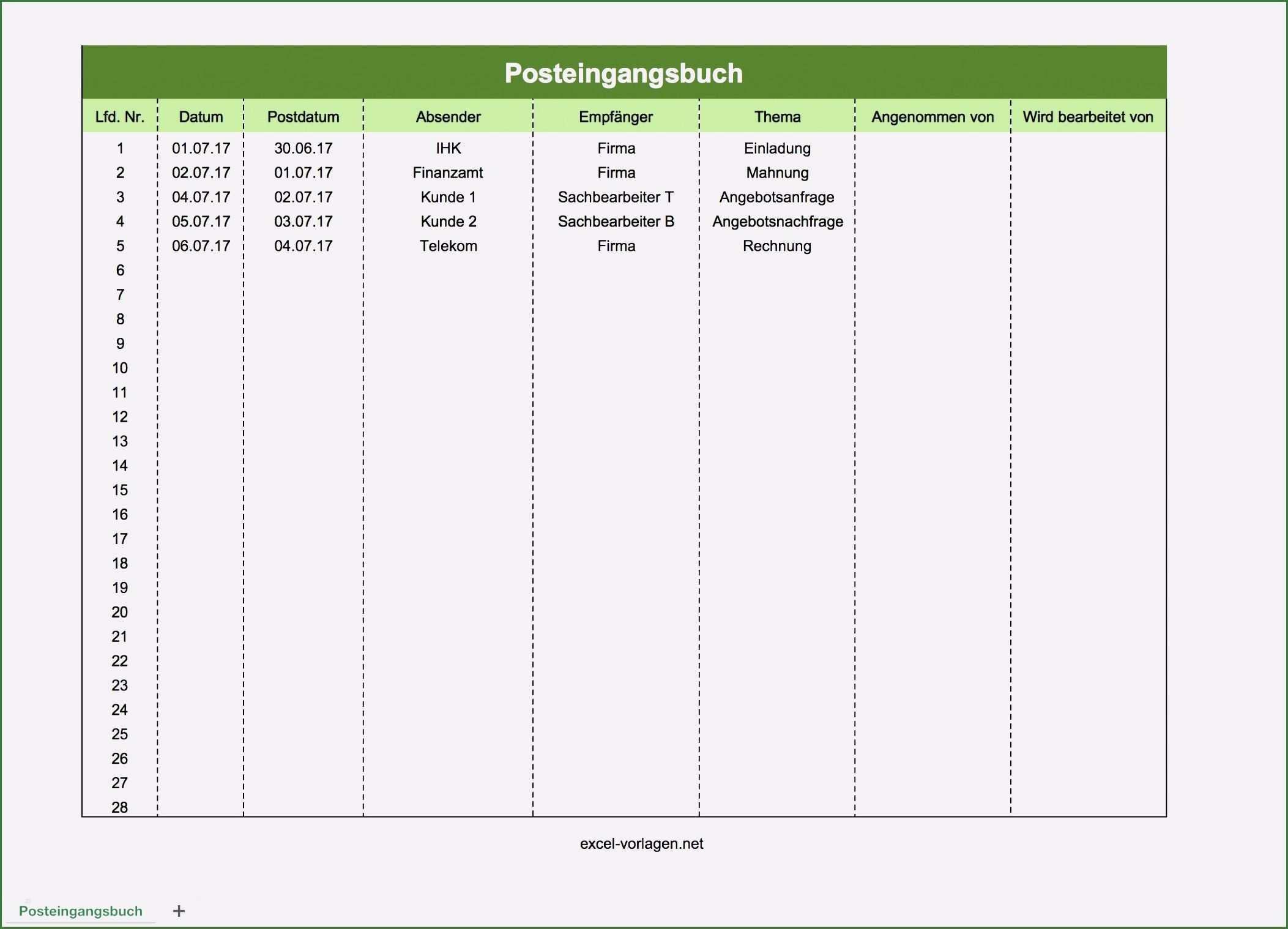 Ungewohnlich Posteingangsbuch Excel Vorlage Mit Fotos In 2020 Excel Vorlage Finanzen Bucher