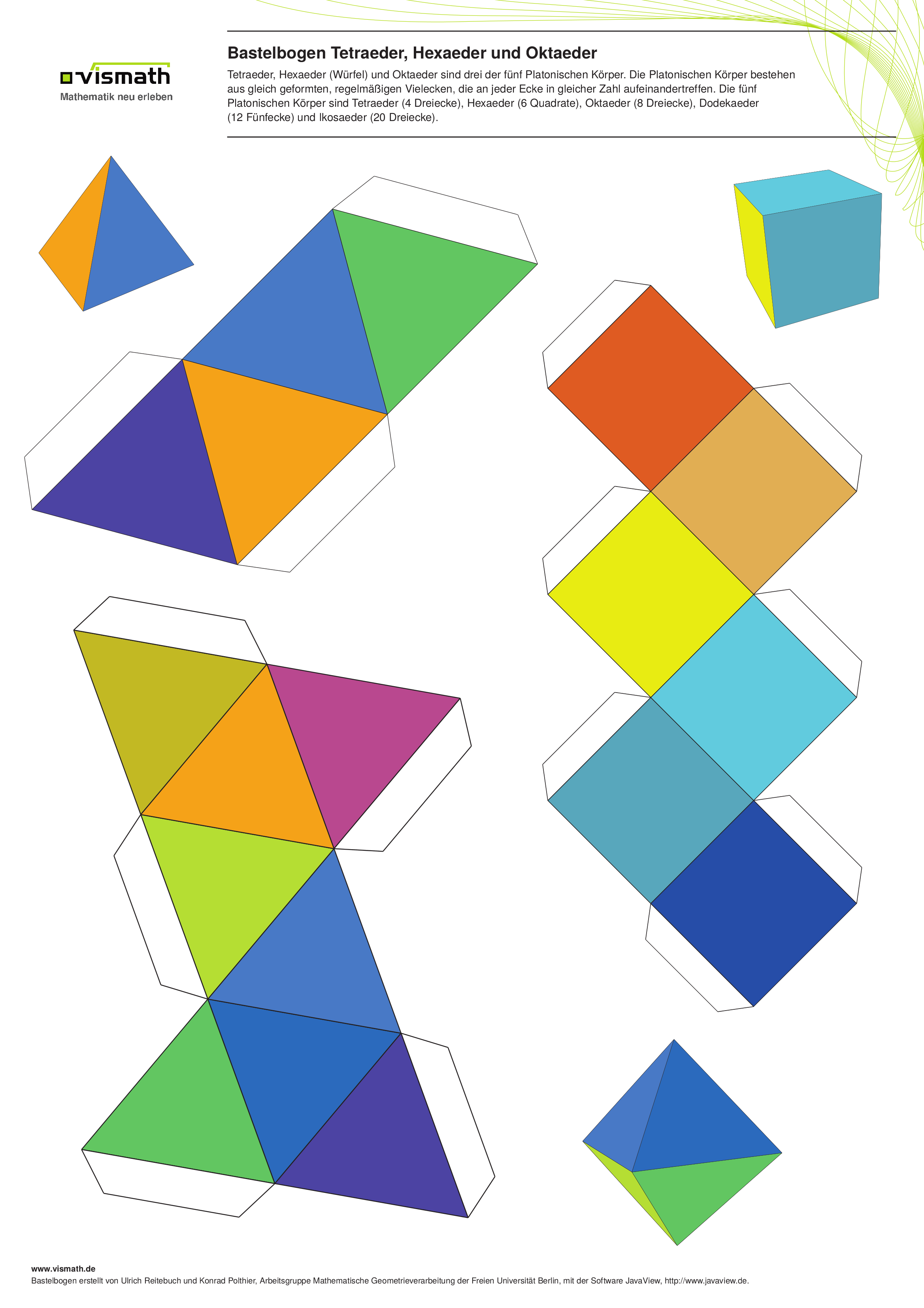 Bastelbogen Set Platonische Korper Fussball Und Kaleidozykel Bauen Konstruieren Bastelbogen Oktaeder Wurfel Basteln Bastelbogen