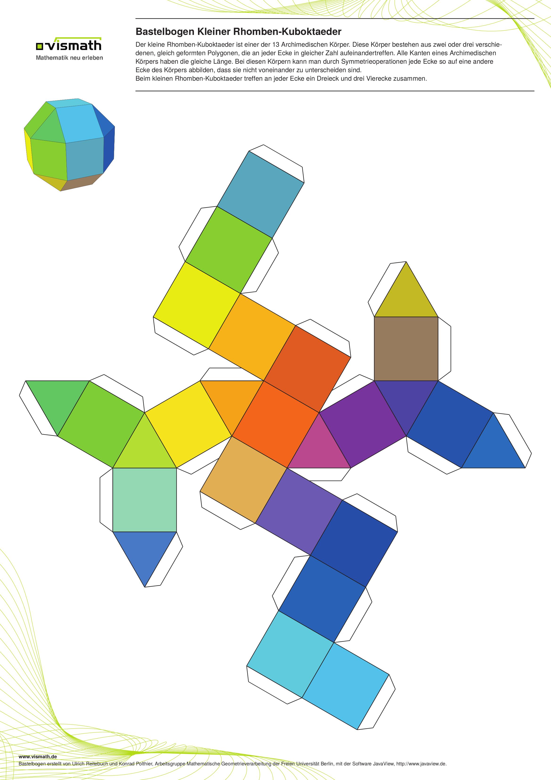 Kleiner Rhomben Kuboktaeder Geometrische Origami Basteln Basteln Anleitung