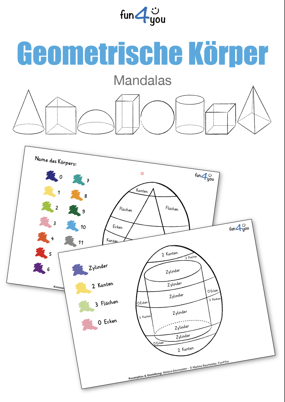Geometrische Korper Mandalas Homeschooling Unterrichtsmaterial In Den Fachern Kunst Mathematik Geometrisch Mandalas Geometrische Korper
