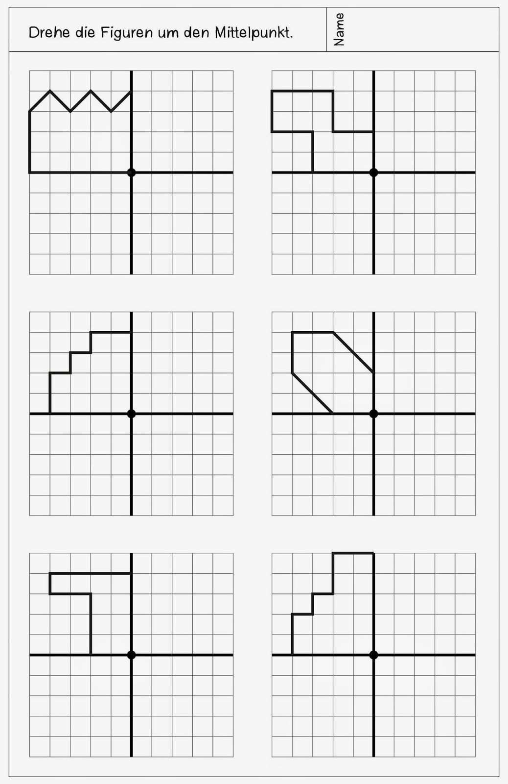 Neue Arbeitsblatter Zur Drehsymmetrie Arbeitsblatter Mathematische Muster Matheunterricht