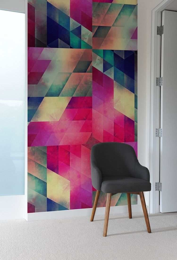 Geometrisches Muster In Schonen Farben Als Dekorativer Element Im Raum Gemusterte Wandfliesen Gemusterte Wand Wande Streichen