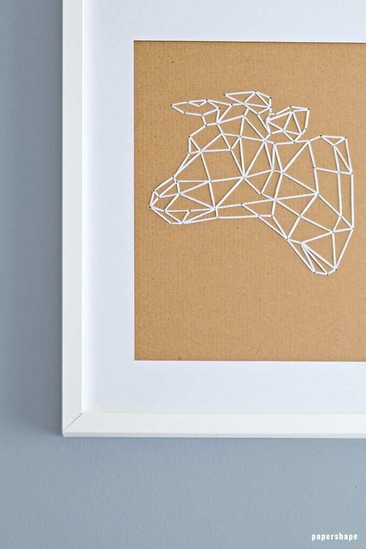 Geometrische Tiere Sticken Auf Karton Mit Kostenloser Vorlage Basteln Mit Papier Falten Basteln Mit Papier Anleitung Geometrisch
