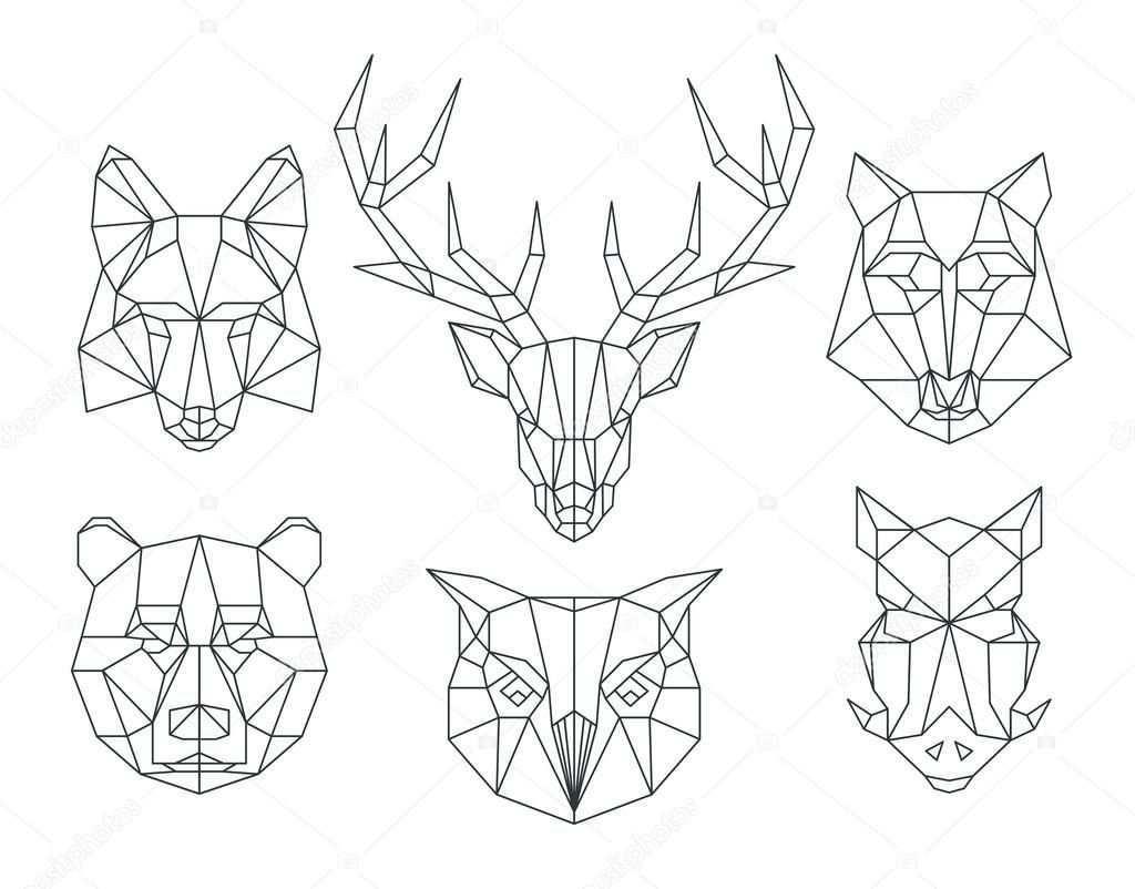 Telecharger L Image Vectorielle Libre De Droits Low Poly Animals Heads Triangular Thin Line Anima Geometrisches Tier Geometrische Kunst Geometrische Zeichnung