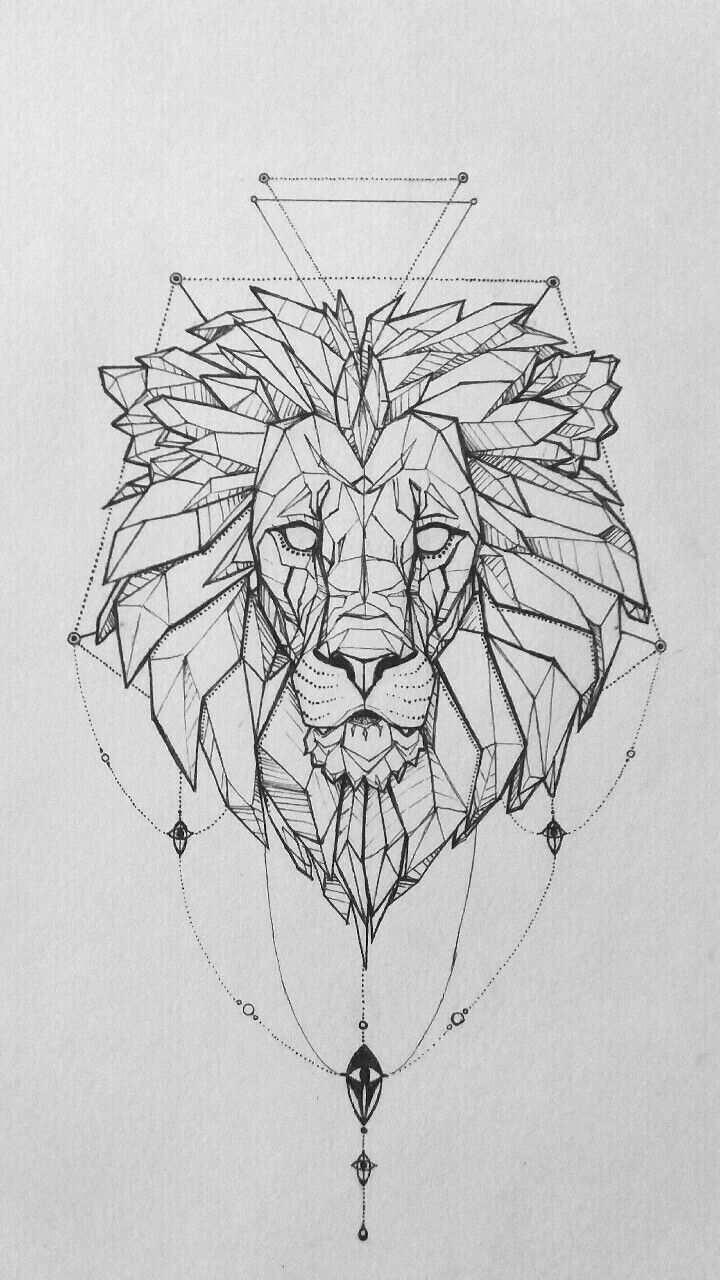 Lowen Tattoo Fur Oberen Rucken Tiertattoos Wolf Tattoos Geometrische Kunst