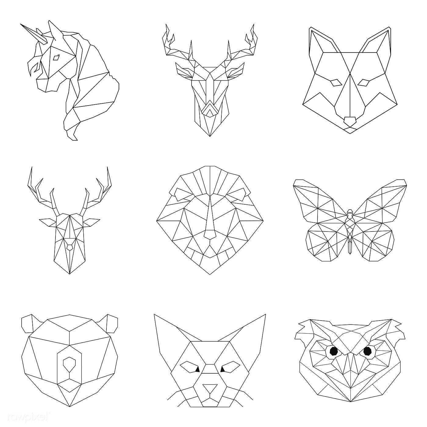 Set Of Animal Linear Illustrations Free Image By Rawpixel Com Poyd Geometric Drawing Geometric Shapes Art Geometric Animals