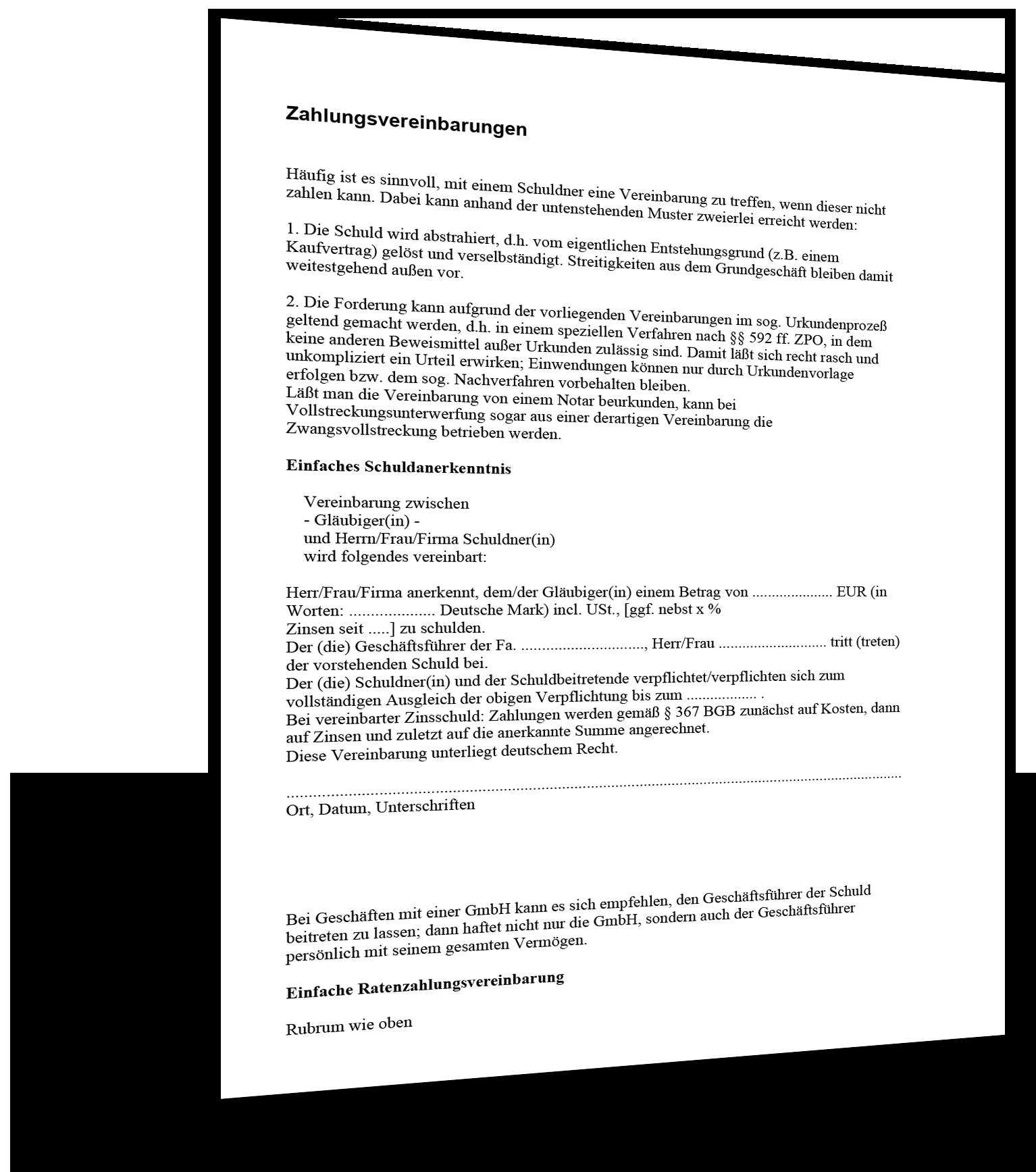 Vorlage Zahlungsvereinbarung