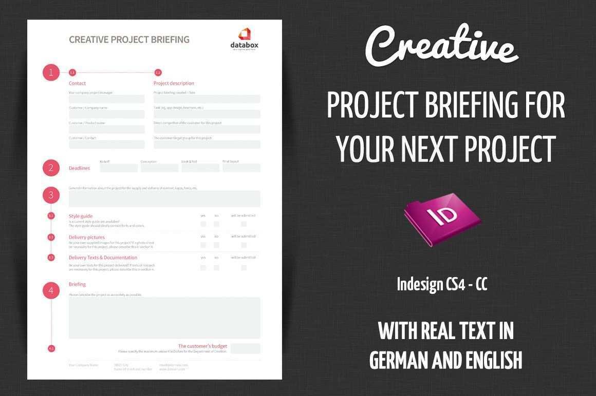 Creative Project Briefing Design Brief Template Indesign Templates Adobe Indesign Templates