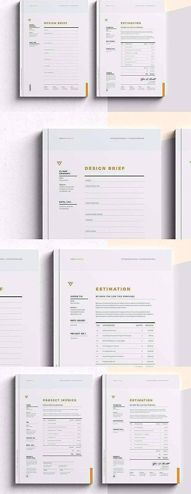Brief Estimation Invoice Templates Indesign Indd Invoice Design Workbook Design Invoice Template