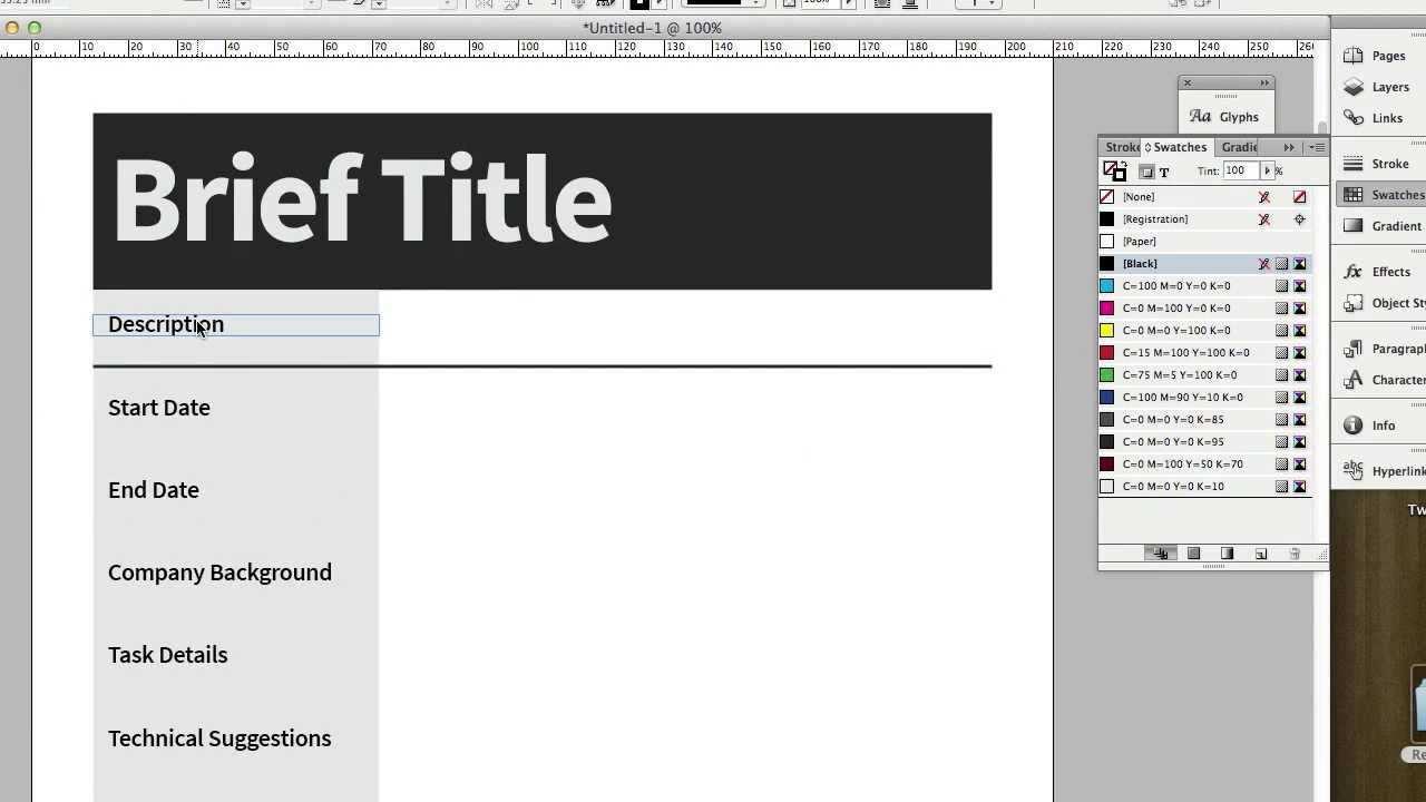 Creative Brief Template Document Design Adobe Indesign Cs6 Youtube