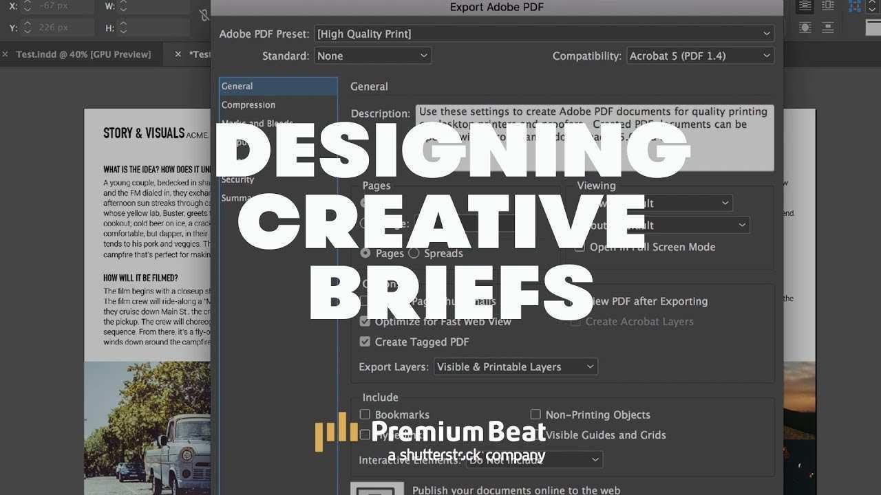 Designing Creative Briefs In Adobe Indesign Premiumbeat Com Youtube