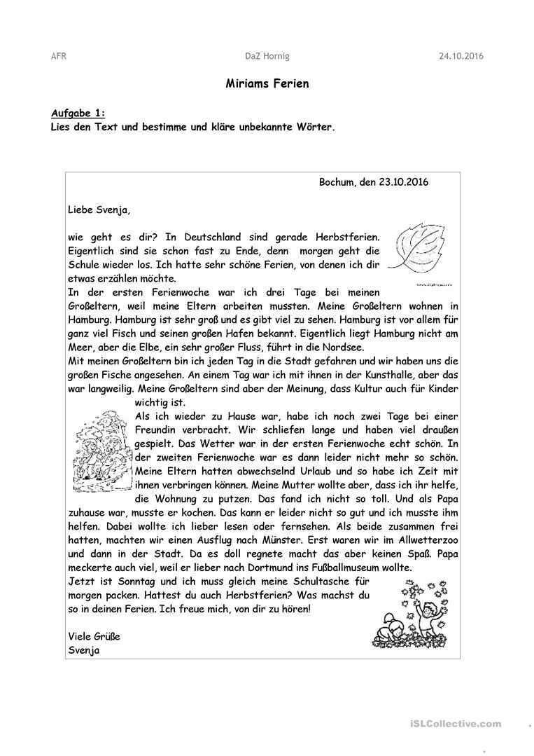 Briefe Schreiben Arbeitsblatt Kostenlose Daf Arbeitsblatter Brief Deutsch Briefe Schreiben Briefe Lesen