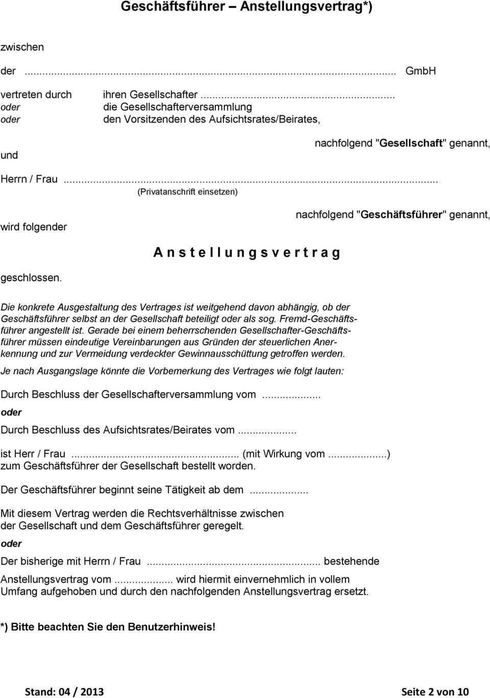 Standard Anstellungsvertrag Fur Gmbh Ug Geschaftsfuhrer Pdf Kostenfreier Download
