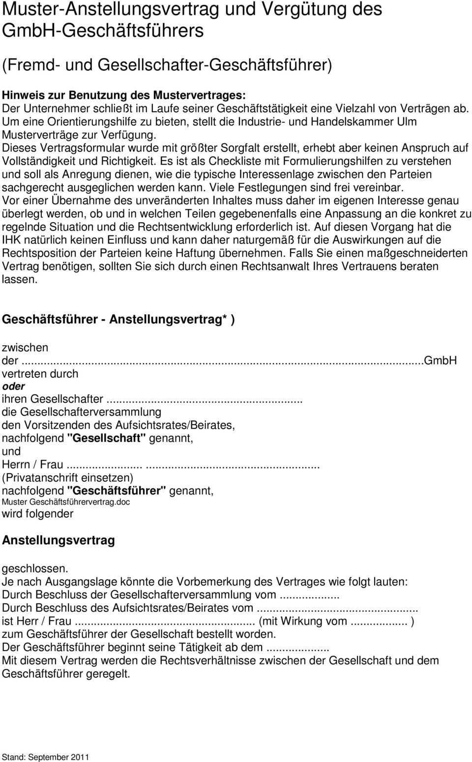 Muster Anstellungsvertrag Und Vergutung Des Gmbh Geschaftsfuhrers Pdf Kostenfreier Download
