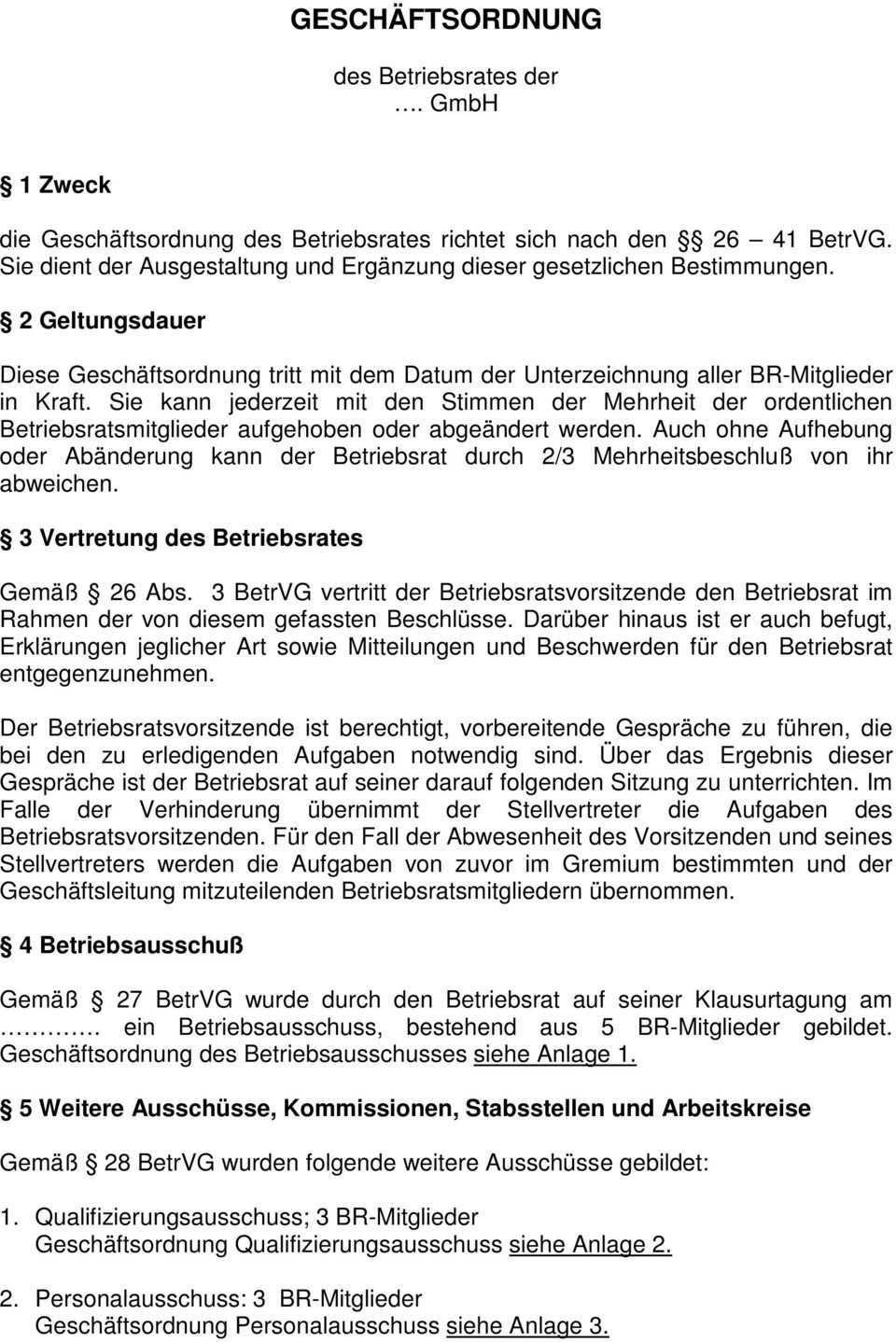 Geschaftsordnung Des Betriebsrates Der Gmbh Pdf Kostenfreier Download
