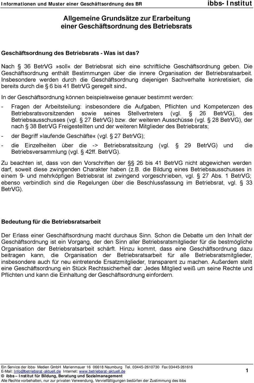 Allgemeine Grundsatze Zur Erarbeitung Einer Geschaftsordnung Des Betriebsrats Pdf Kostenfreier Download