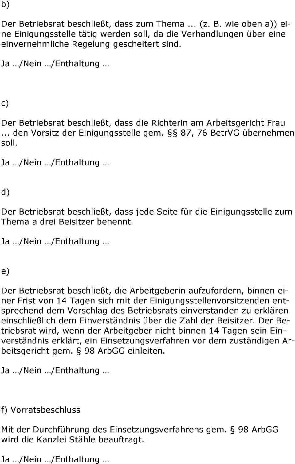 Beschlussvorlagen Fur Betriebsrate Pdf Kostenfreier Download