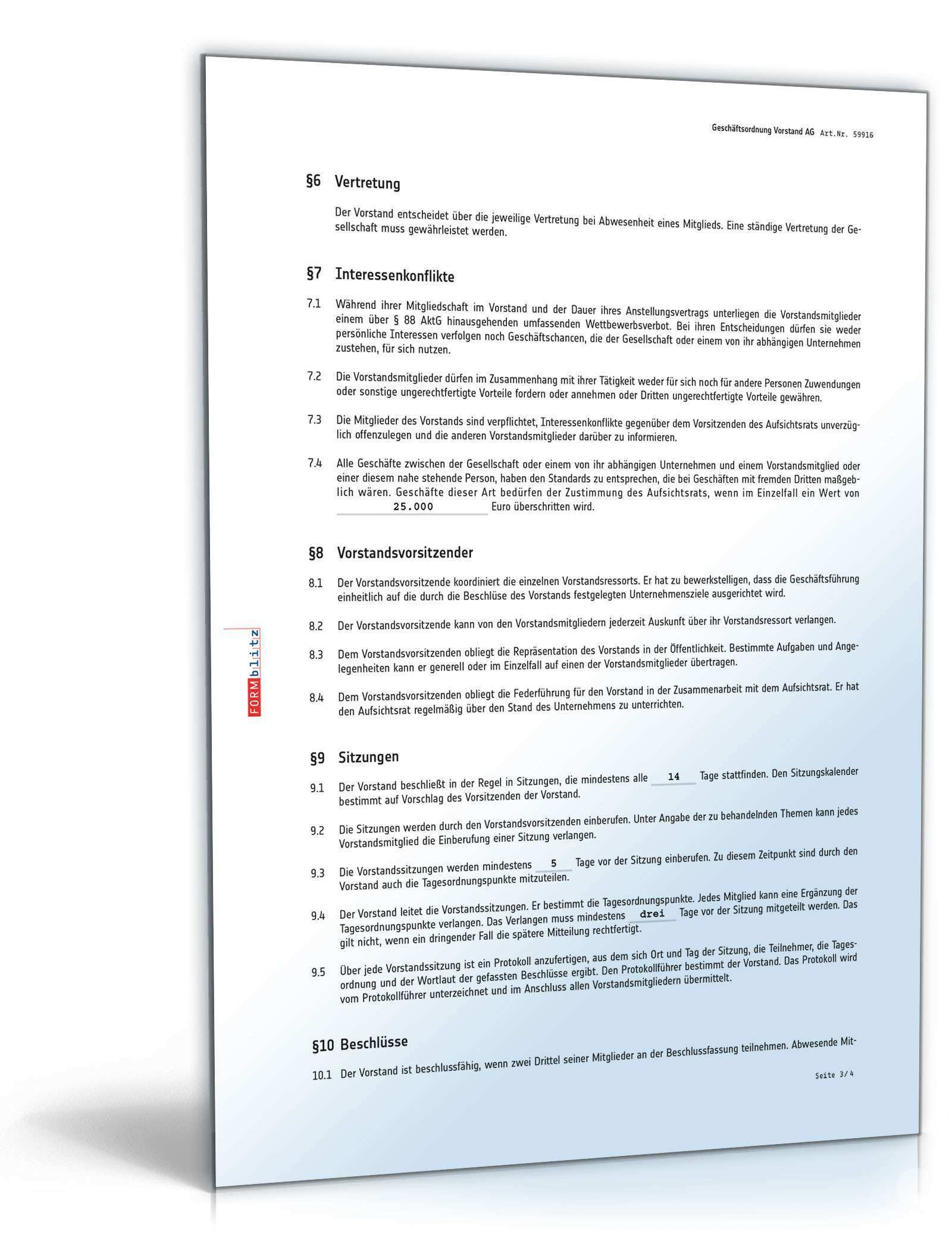 Geschaftsordnung Vorstand Ag Vorlage Zum Download