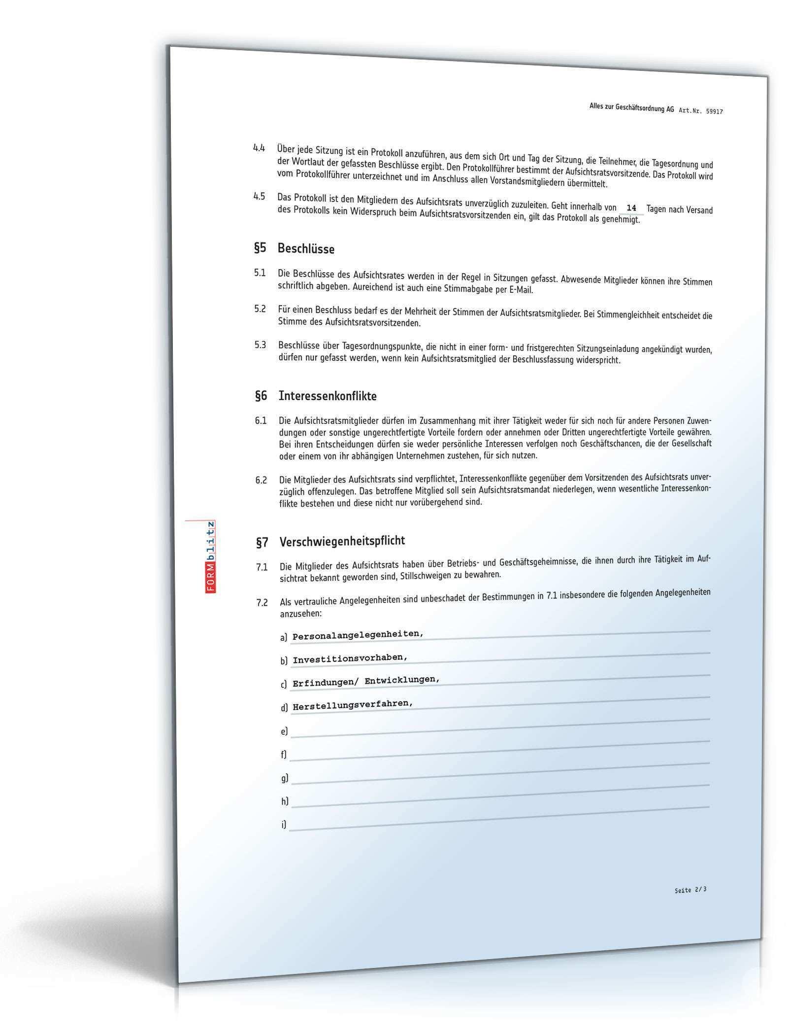 Geschaftsordnung Aufsichtsrat Ag Vorlage Zum Download