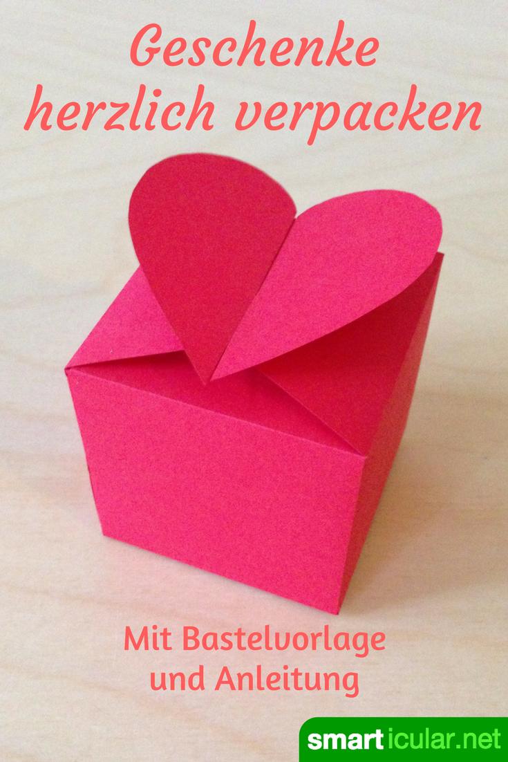 Herzschachtel Falten Ohne Kleben Druckvorlage Anleitung Schachtel Basteln Geschenkbox Basteln Basteln