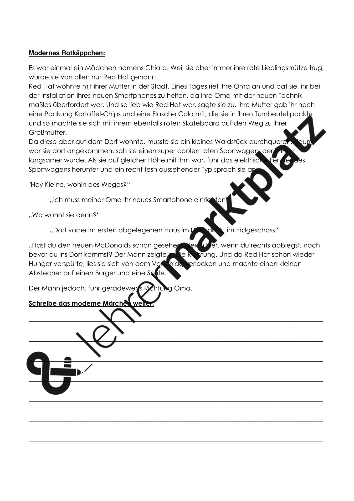 Modernes Marchen Rotkappchen Unterrichtsmaterial Im Fach Deutsch Modernes Marchen Unterrichtsmaterial Schreibkonferenz