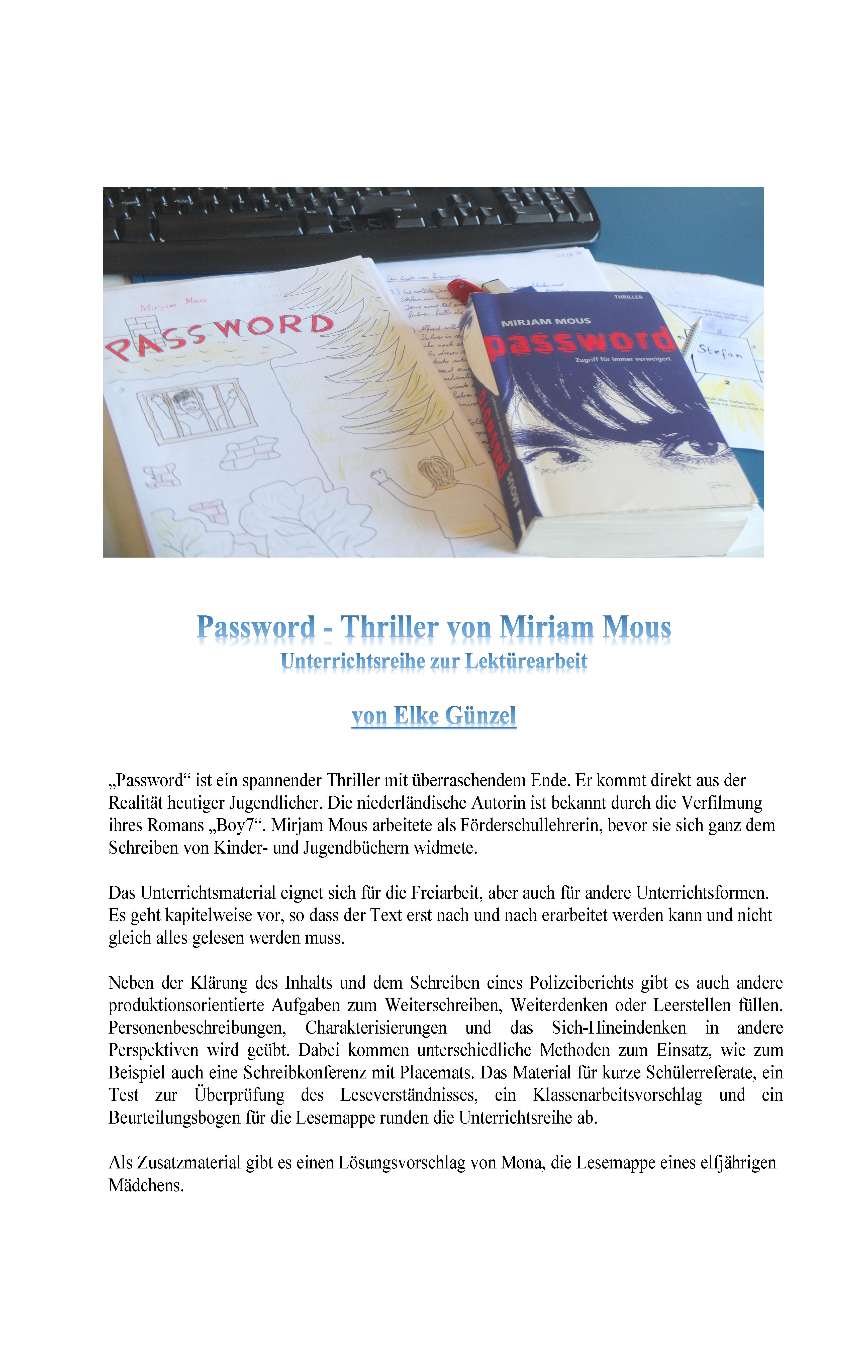 Deutsch Lekture Passwort Von Mirjam Mous In 2020 Deutsch Unterricht Unterrichtsmaterial Lehrmaterial