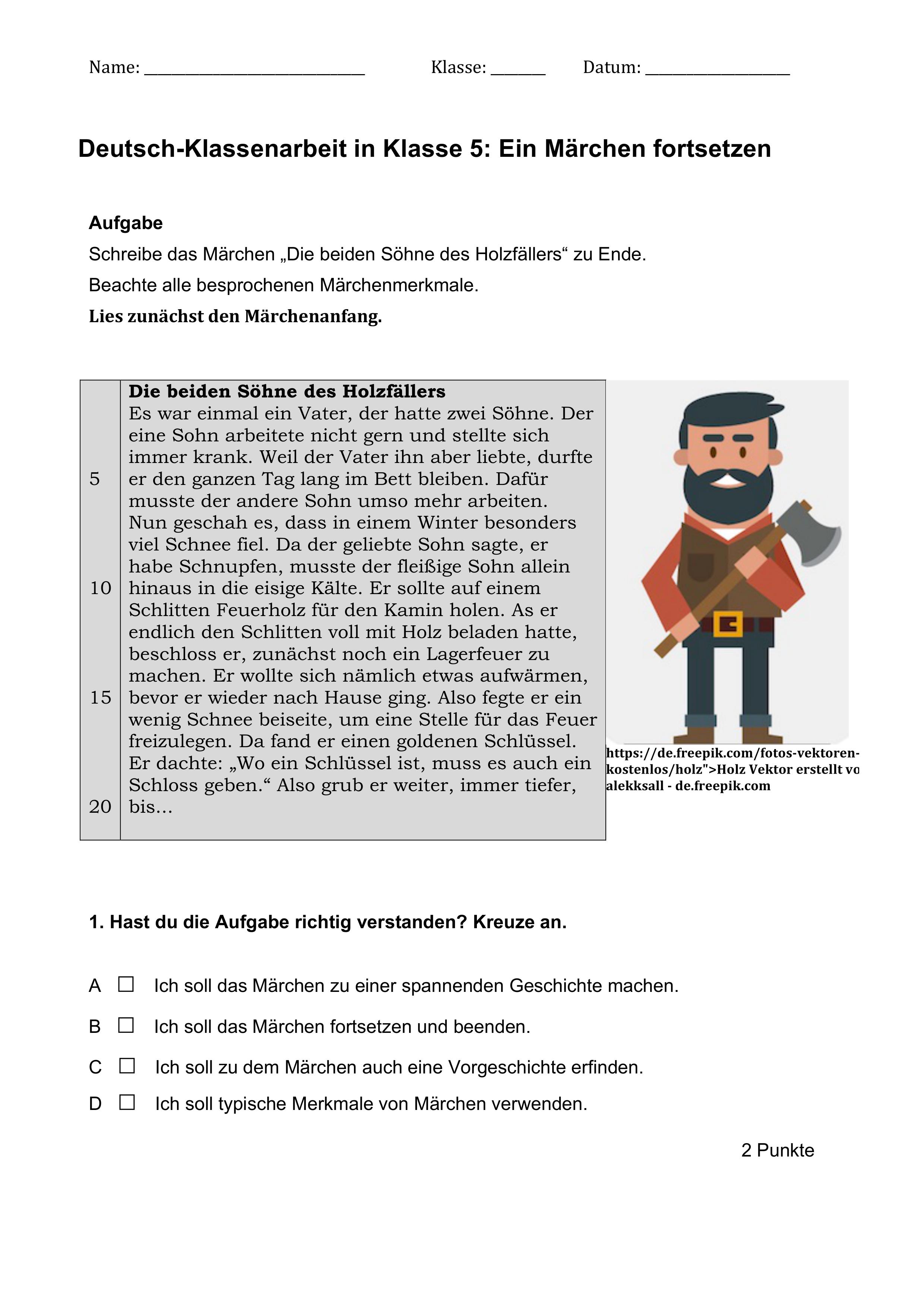 Klassenarbeit Marchen Fortsetzen Klasse 5 Klassenarbeiten Erste Klasse Deutsch Unterricht