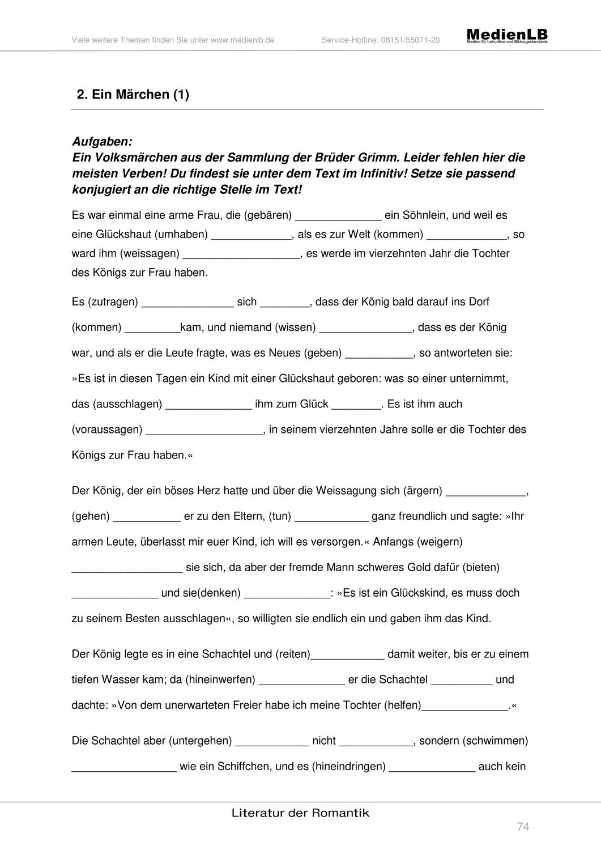 Ein Marchen Romantik Unterrichtsmaterial Im Fach Deutsch Romantik Unterrichtsmaterial Lernen