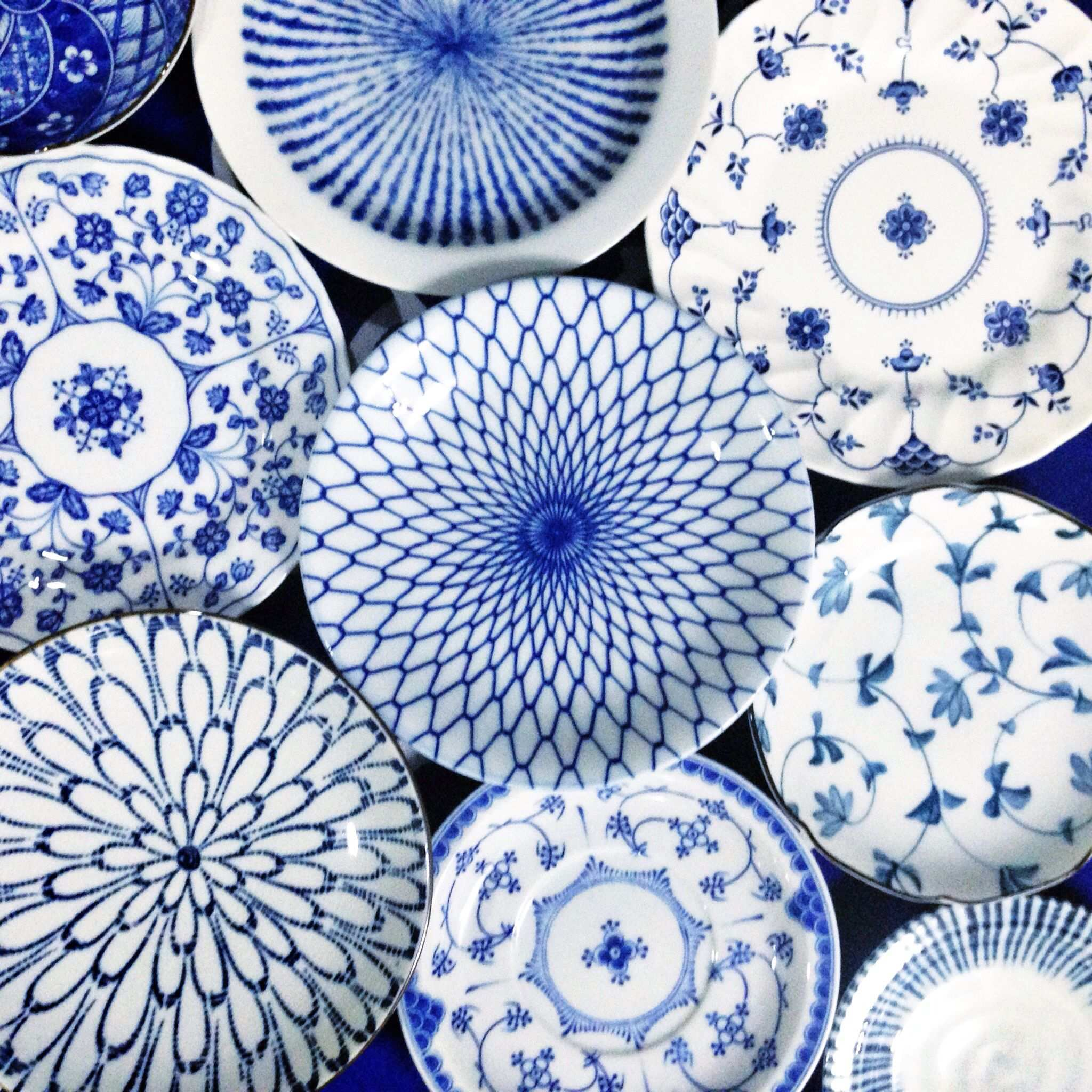 Blue And White Plates And Saucers