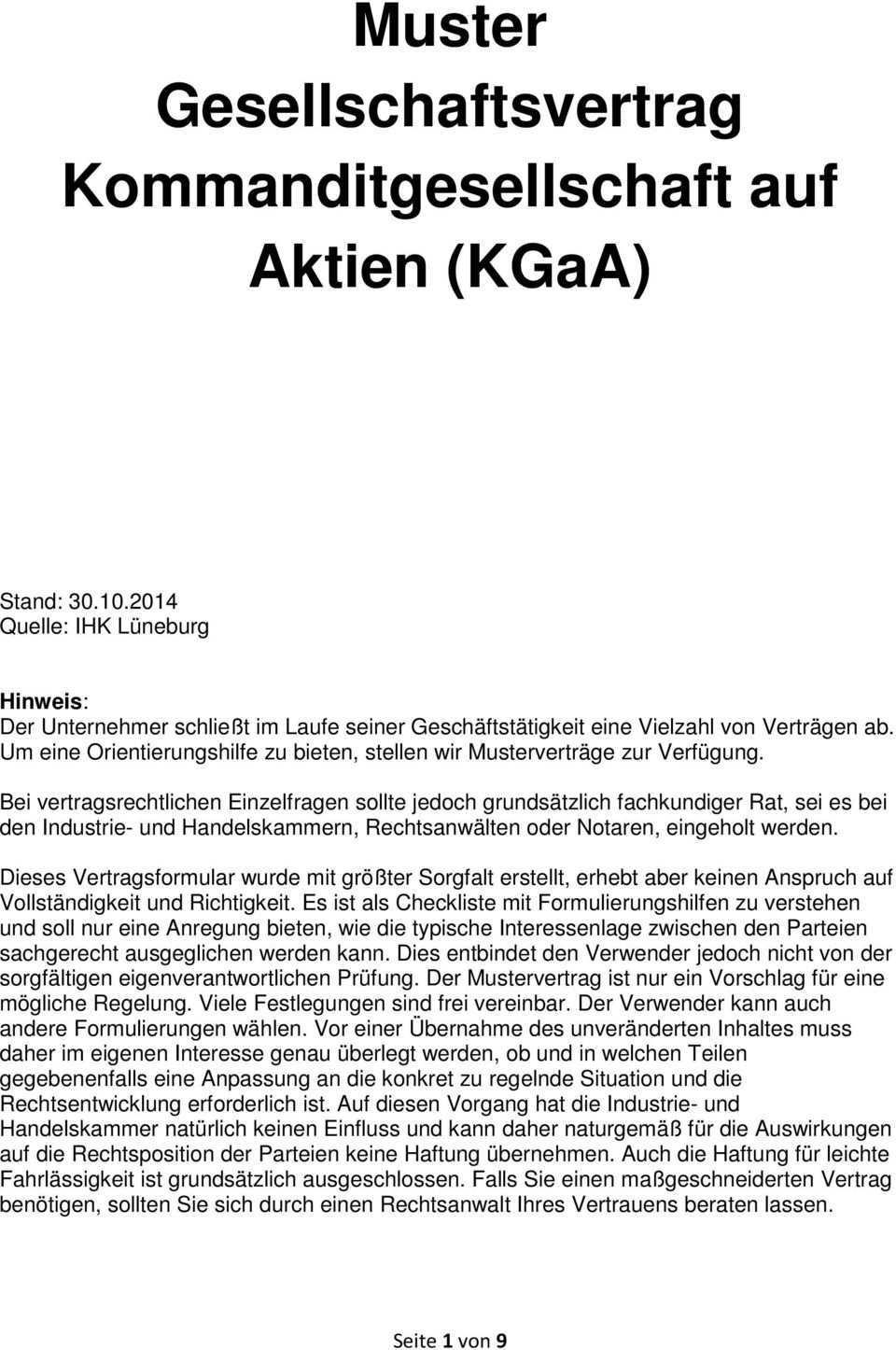 Muster Gesellschaftsvertrag Kommanditgesellschaft Auf Aktien Kgaa Pdf Free Download